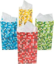 Fun Express Paper Pixel Treat Bags Blue Red Green and Yellow (36 Count)