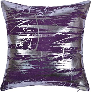 JWH Silver Foil Throw Pillow Case Linen Decorative Cushion Cover Home Sofa Car Bed Living Room Decor Pillowcase Digital Print Shell 17 x 17 Inch Purple
