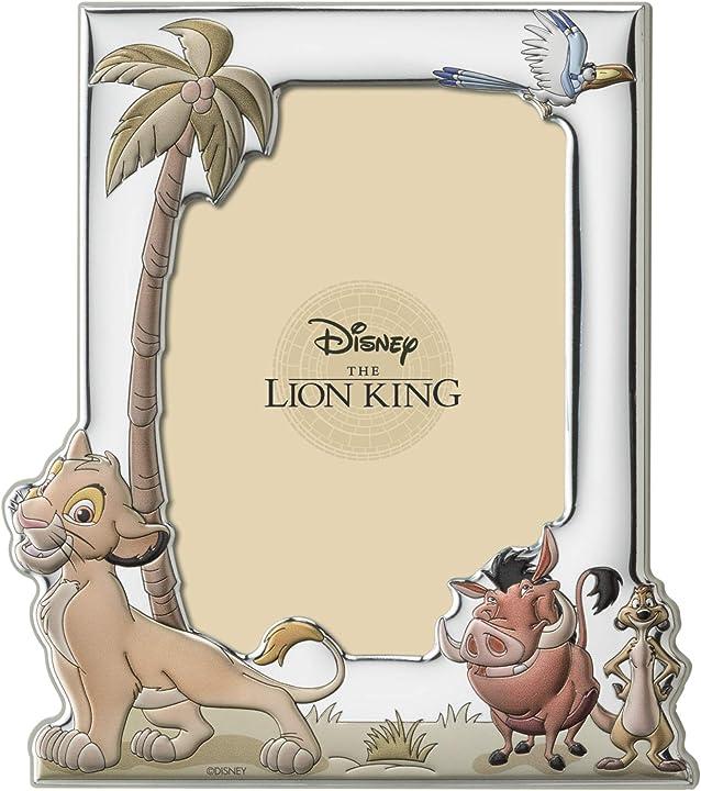 Cornice porta foto in argento con dettagli dipinti a colori -  disney baby - il re leone D407-4L