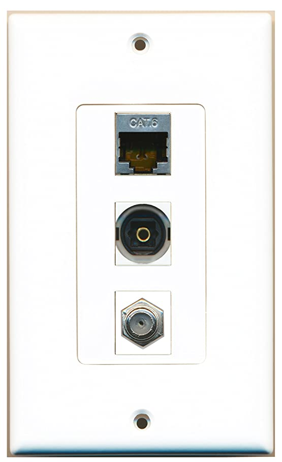RiteAV - 1 Port Coax Cable TV- F-Type and 1 Port Shielded Cat6 Ethernet and 1 Port Toslink Decora Wall Plate Decora d245110060