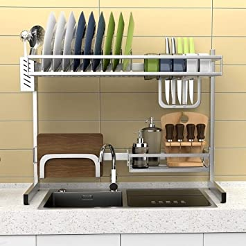 304 Stainless Steel Kitchen Sink Dish Drainer Storage Rack Amazon De Home Kitchen