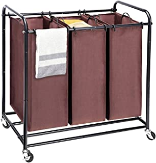 MaidMAX Heavy Duty 3 Bags Laundry Sorter, Rolling Laundry Hamper Cart with 4 Wheels, Metal Frame, Brown