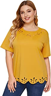 SheIn Women's Plus Size Hollow Out Scallop Hem Short Sleeve Tee Top
