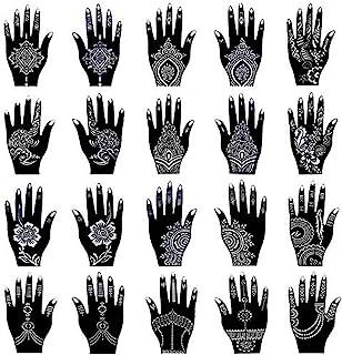Henna Tattoo Stencil Kit/Temporary Tattoo Temples Set of 20 Sheets, Indian Arabian Tattoo Stickers Mehndi Stencils Body Ar...
