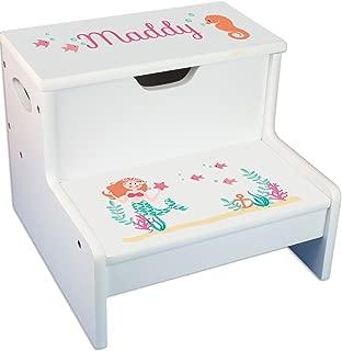 Personalized Mermaid Princess White Childrens Step Stool with Storage