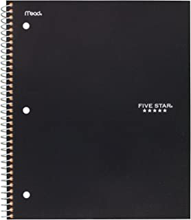 "Five Star Spiral Notebook, 1 Subject, Graph Ruled Paper, 100 Sheets, 11"" x 8-1/2"", Black (73679)"