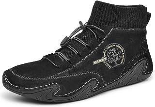 KUYG - Stivali da uomo morbidi e antiscivolo, in pelle, traspiranti, flessibili