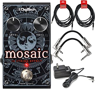 Digitech Mosaic Polyphonic 12 String Guitar Effect Pedal for Electric and Acoustic electric Guitars with ac power adapter 2 Path Cables for guitars and 2 instrument cable