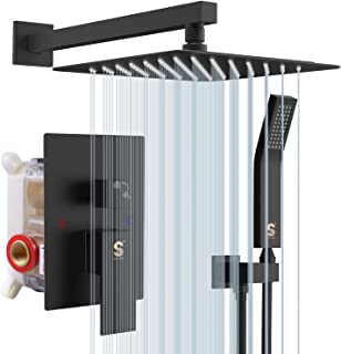 SR SUN RISE Matte Black Shower System 12 Inch Brass Bathroom Luxury Rain Mixer Shower Combo Set Wall Mounted Rainfall Shower Head System Shower Faucet Rough-in Valve Body and Trim Included