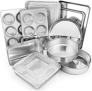 ست های پخت و پز استیل 12 تکه ، ست تابه پخت فلزی E-far شامل تابه های کیک گرد ، تابه های مربع / مستطیل پخت با درپوش ، ورق کوکی ، قرص / مافین / تابه پیتزا ، غیر سمی