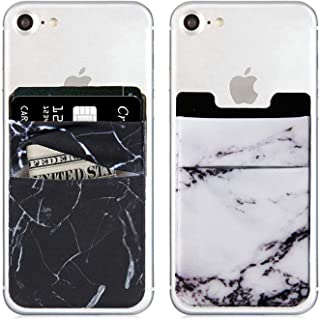 2Pack Marble Cell Phone Stick On Wallet Card Holder Phone Pocket iPhone,Android All Smartphones (Black/White)