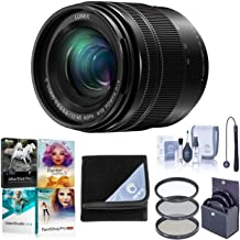 Panasonic Lumix G Vario Lens, 12-60MM, F3.5-5.6 ASPH, Mirrorless Micro Four Thirds, Power Optical I.S. H-FS12060 (USA Black) Bundle with Filters, Lens Wrap, PC Photo/Video Software, Cleaning Kit