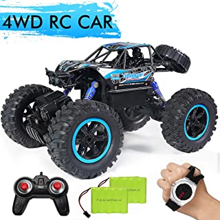 RC Car,JDBABY Remote Control Truck with Gesture Sensor Watch,2.4Ghz 1/14 Scale Off Road Vehicle, All Terrain Hobby Toys Trucks for Boys Kids & Adults (Blue)