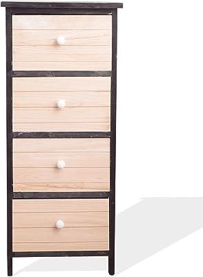 Rebecca Mobili Commode Haute, Meuble de Rangement en Bois, 4 Tiroirs, Gris Blanc, Style Vintage, Chambre Salon Entree – Dimensions: 81 x 35 x 25 cm (HxLxL) - Art. RE4026