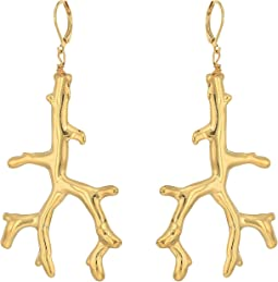 Polished Gold Branch Eurowire Ear Earrings