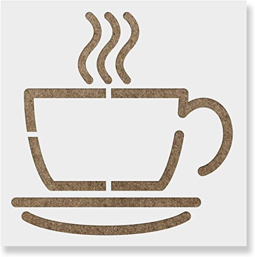 Cafe3 Cup of Coffee Coffee TIME  Quote Big Sizes Reusable Stencil Modern