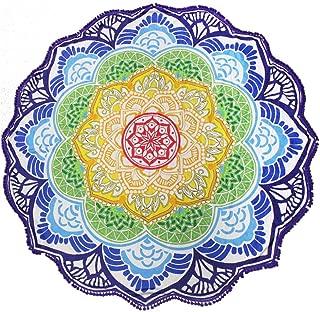 Leeron Beach Throw Mandala Tapestry Mat, Indian Mandala Beach Towel Round, Mandala Tapestry Towel Blanket Yoga, Roundie Tapestry Pretty Gypsy Round Beach Blanket Towel for Women (Purple - 1)