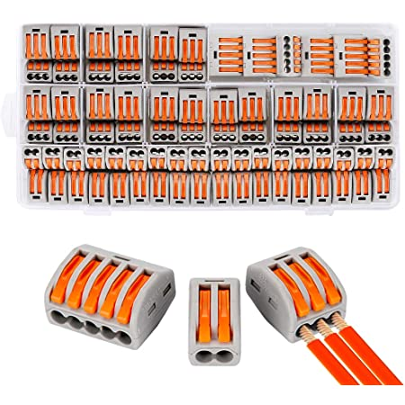Compact Wire Connectors, Aigreat 100pcs Compact Splicing Connectors, Lever Nut Assortment Conductor, Electrical Connectors Blocks with 50pcs Clamp 3-Port/40pcs Clamp 2-Port/10pcs Clamp 5-Port