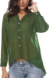 Meshieyla Semi Sheer Blouse Women's Chiffon Scoop Neck Casual Long Sleeve See Though Button-Down Tops Shirt