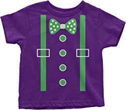 Threadrock Little Boys' Green Tuxedo Bow Tie & Suspenders Toddler T-Shirt