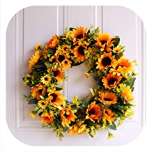 Memoirs- Simulation Sunflower Wreath Home Door Wall Decoration Fake Flower Festival Party DIY Decoration Photography Props 1pc,Style C 40cm