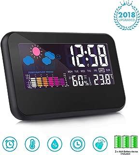 T-Bog Digital Clock Multifunctional Alarm Clock Date Temperature & Humidity Display Silence Clock USB & Battery(Included) Rechargeable Bedroom Clock (Black)