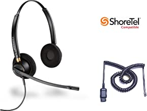 ShoreTel Compatible Plantronics HW520 EncorePro 520 Ultra Noise-Canceling VoIP Headset Bundle for ShoreTel IP Phones: 100, 212, 230, 230G, 265, 530, 560, 560G, 565, 565G, 655