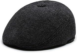 Krantenjongenspet Platte caps for heren winter katoen baret hat pet cap voor Heren (Color : Black, Maat : L)
