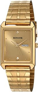 Sonata Analog Gold Dial Men's Watch -NK7007YM05
