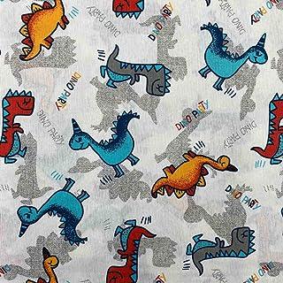 Kt KILOtela Kt KILOtissu Bedruckter Segeltuchstoff, 100 cm lang x 280 cm breit | Dinosaurier – Rot, Blau, Orange, 1 Meter