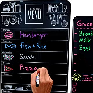 "$24 » Cute 10""x16"" Magnetic Dry-Erase Weekly Menu Blackboard for Kitchen Fridge (with 8 Bright Chalk Markers) & Free Bonus - Gro..."