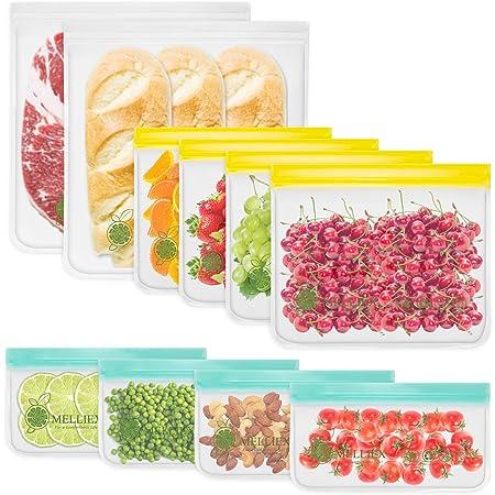 MELLIEX Paquet de 10 Sac de Congélation Alimentaire Réutilisable, Sacs Nourritures et pour Sandwichs Sac de Conservation Zip pour Aliments Mariner Viande Fruit Céréale