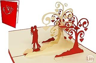Lin de Pop Up Tarjetas Tarjetas de boda, boda invitaciones Valentin Tarjetas 3d Tarjetas Tarjetas de felicitación Tarjetas de felicitación Amor Boda, küssendes pares/corazón Árboles
