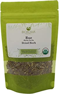 100% Pure and Organic Biokoma Rue Dried Herb - Natural Herbal Tea in Resealable Pack Moisture Proof Pouch - 50g