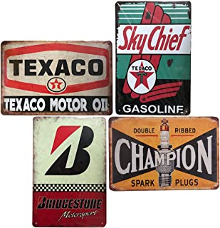 4 Pcs Retro Vintage Metal Signs, Texaco/Champion/Bridgestone/Sky Chief, Garage Bar Man Cave Decor, 8x12 Inch/20x30cm