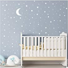 Moon and Stars Wall Decal Vinyl Sticker For Kids Boy Girls Baby Room Decoration Good Night Nursery Wall Decor Home House Bedroom Design YMX16 (White)