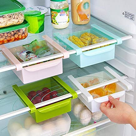 HAPPENWELL Multifunctional Fridge Space Saver Organizer Storage Rack Shelf Drawer Easily Maintaining Extra Meals, Sweets, Chocolates, Double Up Your Space in Refrigerator (Multicolor) (3)