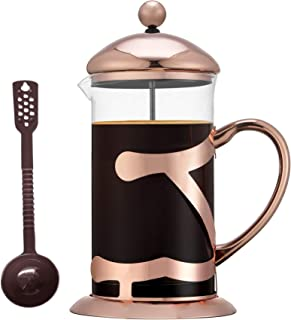 SmartHom French Press Coffee Maker 34 Oz 8 Cups, Particular Coffee Press & Tea Maker with Triple Filters & Plated Stainless Steel Base & Durable Heat Resistant Glass