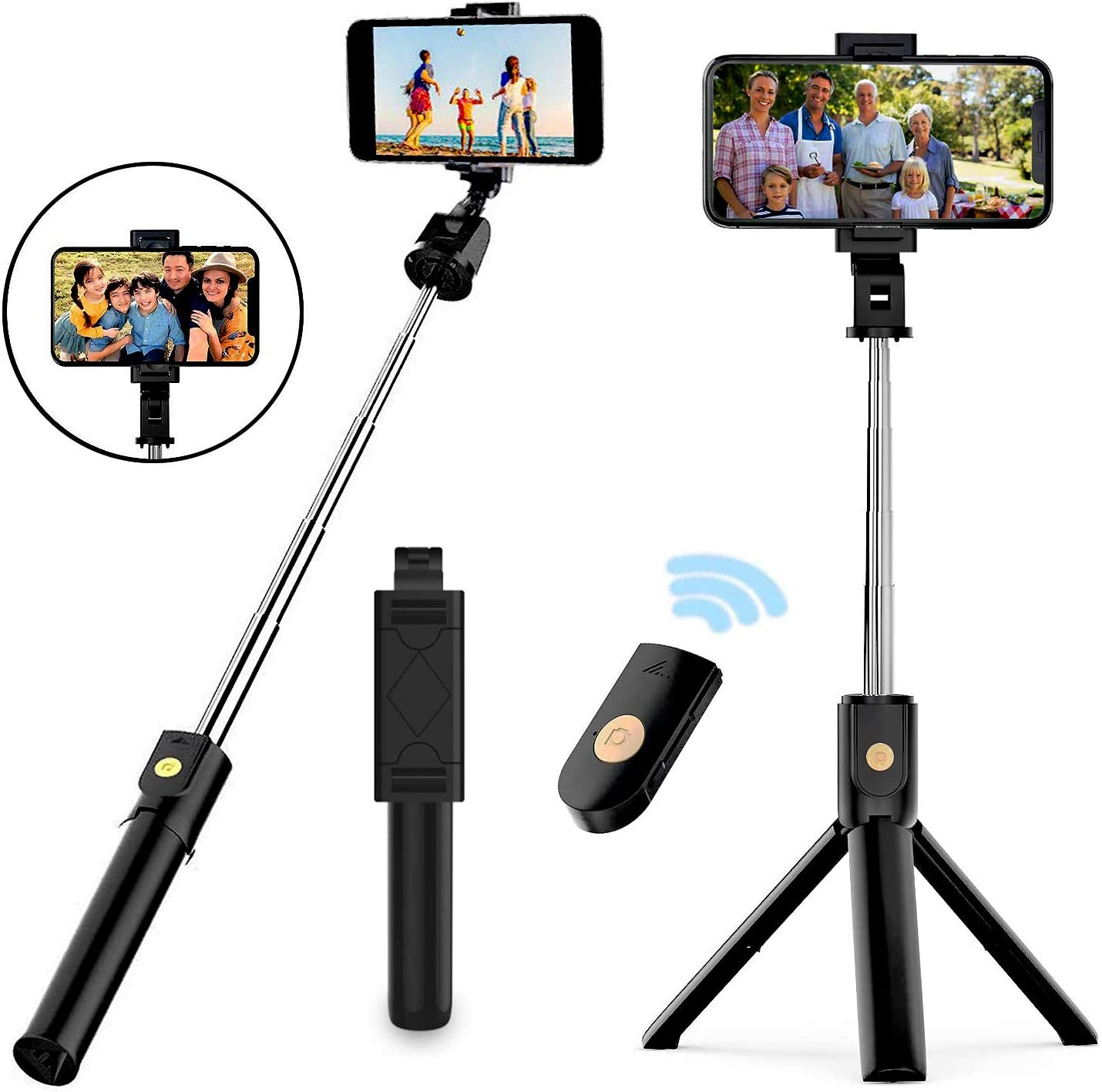 Naohiro Selfie Stick Stativ, 20 in 20 Mini Selfiestick mit Wireless ...