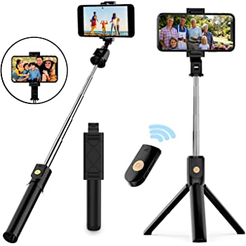 Selfie Stick Tripod, Extendable Bluetooth Selfie Stick with Wireless Remote, Compatible with iPhone 11/11 pro/X/8/8P/7/7P/6s/6, Samsung Galaxy S9/S8/S7/Note 9/8, Huawei and More