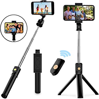 Selfie Stick Tripod, Extendable Bluetooth Selfie Stick with Wireless Remote, Compatible with iPhone 11/11 pro/X/8/8P/7/7P/...