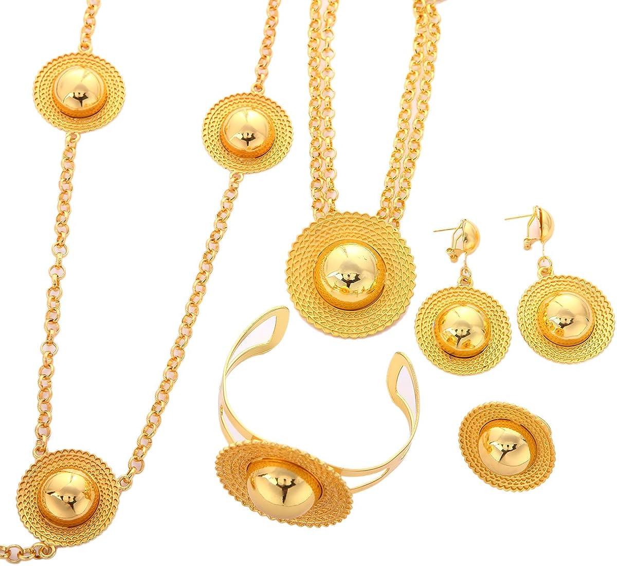 Ethiopian Cross Set Jewelry Gold Plated Habesha Sets Wedding Eritrea Ethiopia Jewelry