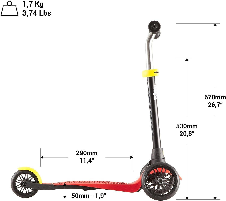 OXELO B1 - Patinete de 3 ruedas de goma para niños (hasta 44 ...