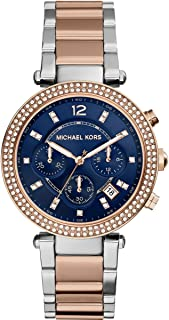 Michael Kors Parker Women'S Navy Dial Stainless Steel Band Watch - Mk6141, Navy,