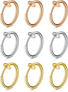 D.Bella Fake Nose Rings Hoop Clip on Spring Fake Hoop Earring Stainless Steel Retractable Nose Ring Faux Helix Cartilage E...