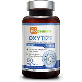 Oxytize 750 mg 120 Vcaps - Natural Magnesium Oxide   Gentle Laxative   Healthy Digestive Tract   Regularity Formula   Oxygen Based Colon Cleanse