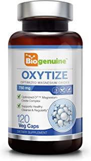 Oxytize 750 mg 120 Vcaps - Natural Magnesium Oxide | Gentle Laxative | Healthy Digestive Tract | Regularity Formula | Oxygen Based Colon Cleanse