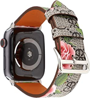 Flower Leather Watch Band for Apple Watch Series 4 44mm,Series 3 2 1 42mm Gray Pink iwatch Strap Belt Wristwatch Bracelet. (Gray Pink-42/44)