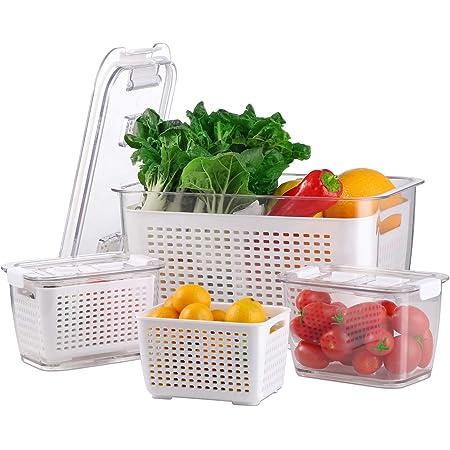 BEYONDA Réfrigérateur à légumes de Stockage, Ensemble de Stockage pour légumes de 3 avec 10 pièces. Sac d'épicerie zippé, sans BPA à Ranger ou à emporter avec Vous