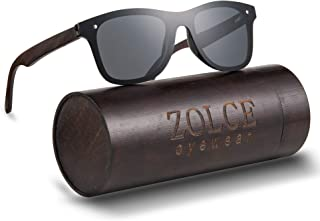 ZOLCE Limitless Wooden Sunglasses, with Flat Mirror Polarized Lens, Classic Vintage Mirror UV400 Polarized Rimless Eyewear
